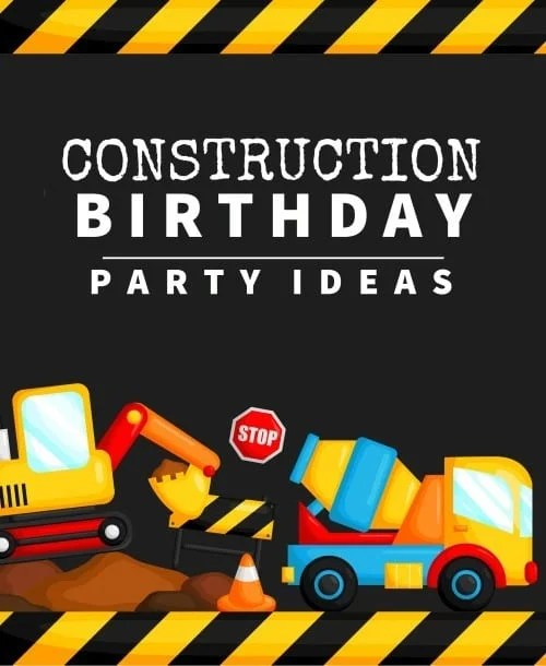 a card in construction theme style with a lot of transportation