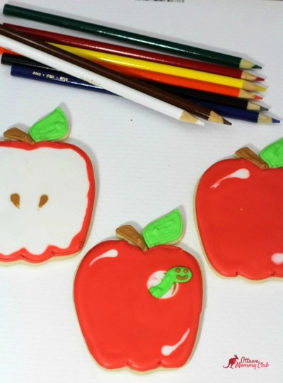 Back to School Apple with Worm Cookies