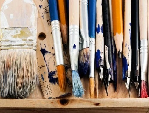 Set of art tools on a white background.