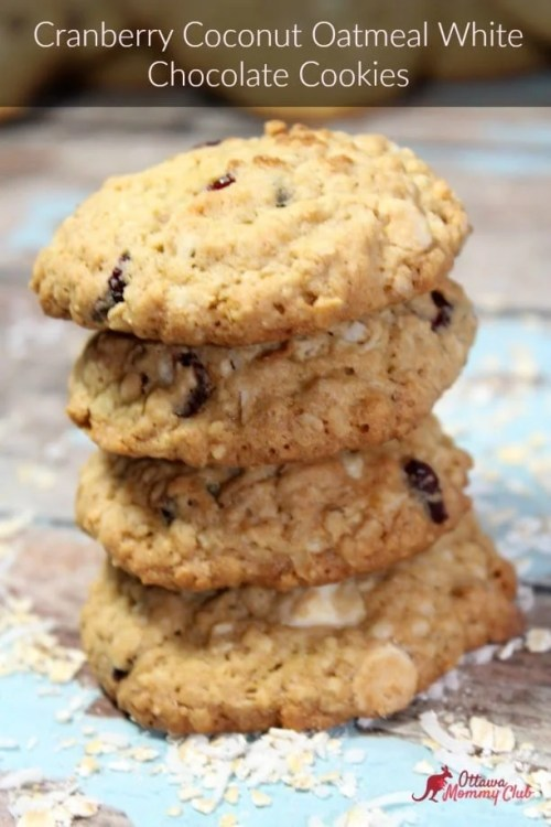 Cranberry Coconut Oatmeal White Chocolate Cookies