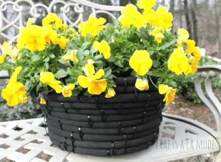 Turn Old Garden Hose Into Flower Pot