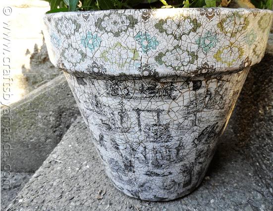 Vintage Crackled Flower Pot