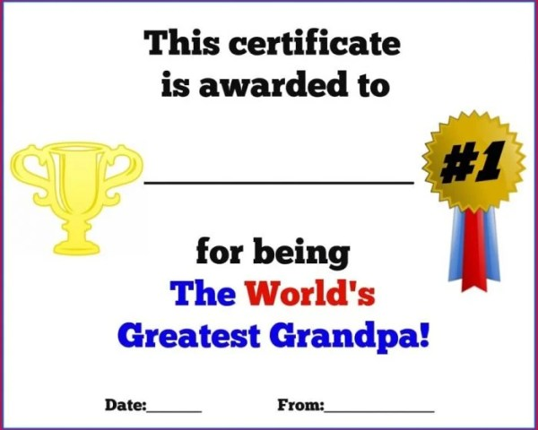Father's Day Printable Certificates for Dad, Grandpa and Uncle