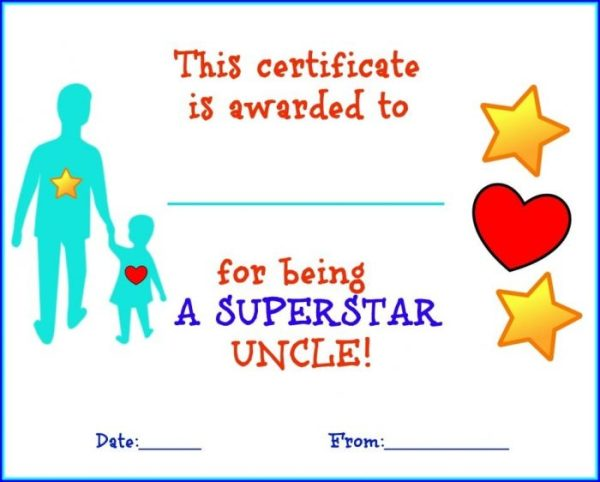 Father's Day Printable Certificates for an Uncle