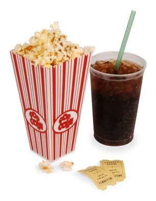 Popcorn, soda, & tickets isolated on white with clipping