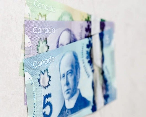 Canadian dollar bills, $5, $10, $20