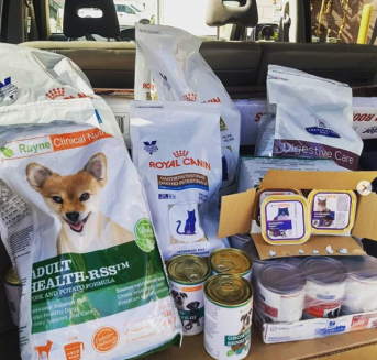 picture of food donations to ottawa paw pantry