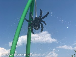 Henri Rocque Park Splash Pad in Orleans has a black spider that sprinkles water