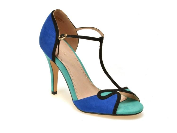 Sandale turcoaz, 9508W9, din piele ecologica