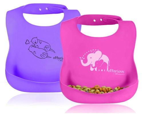 best-silicone-bib-set-lfgb-otterlove-pink-elephant-purple-otters