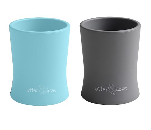 natural grip silicone baby cup tiny toddler training cup - blue and smoke 2 pack
