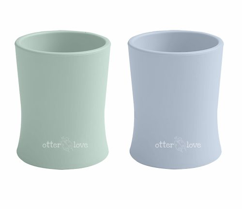 natural grip silicone baby cup tiny toddler training cup - sage and cloud 2 pack