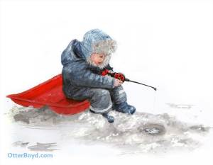 painting of little boy ice fishing