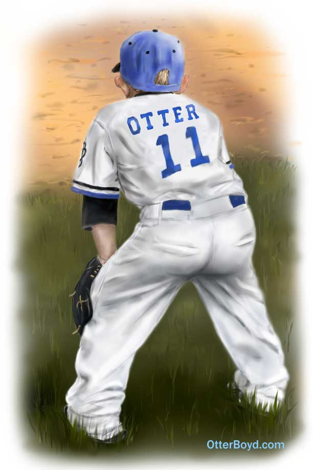 painting of little league baseball boy