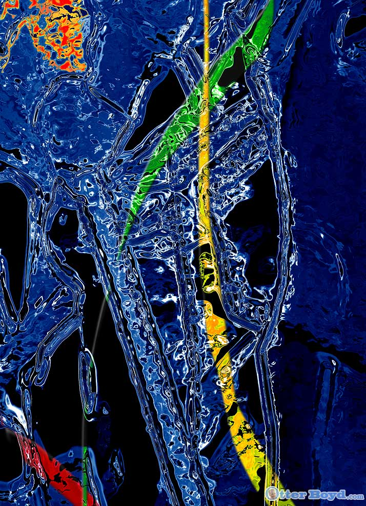 abstract painting elements ice and water