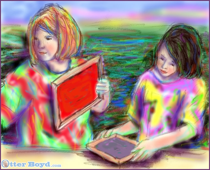 Painting Of Girls Working On An Art and Craft Project