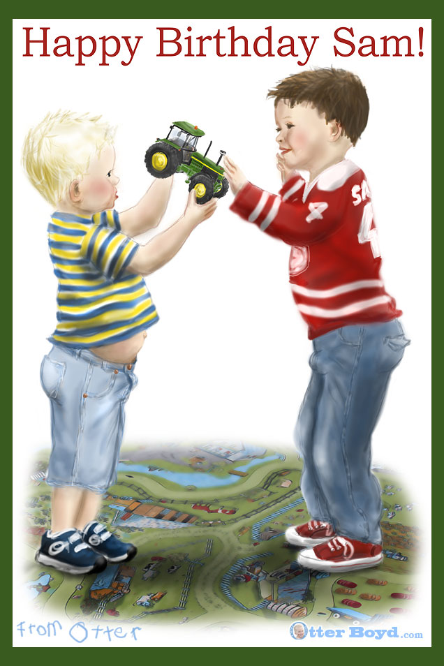 boys birthday card boy giving his friend a john deere tractor toy for a present
