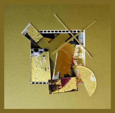 reliquary 4. 23 x23x7 cm. gold leaf painted surfaces, cut card