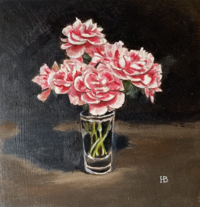 Carnations acrylic on panel 20cm x 20cm