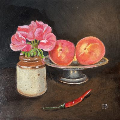 Peaches and chili acrylic on panel 20cm x 20cm