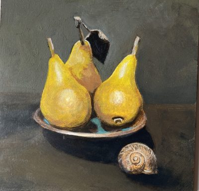 Pears acrylic on panel 20cm x 20cm