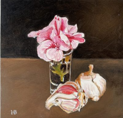 Pink garlic acrylic on panel 20cm x 20cm