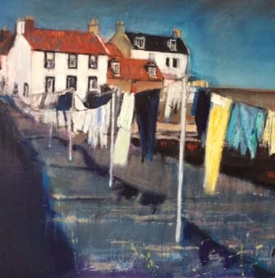 Washday Cellardyke Oil on Canvas 50cm x 40cm