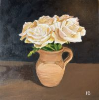 White Roses acrylic on panel 20cm x 20cm