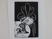 Night Garden - Lino print