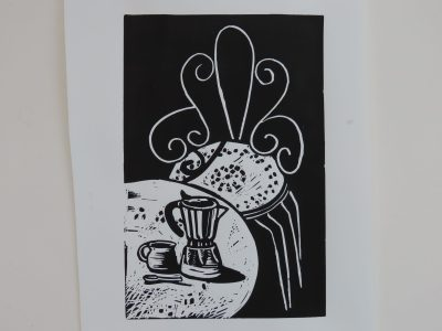 Night Garden - Lino print