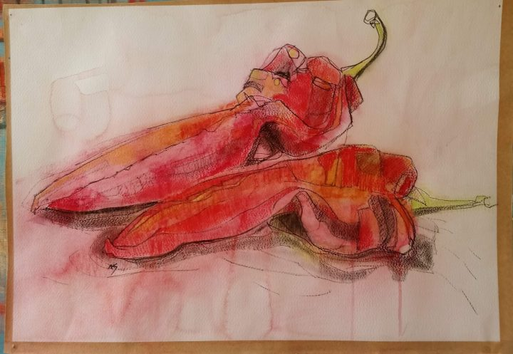 Red hot Chill Peppers - Acrylic and pastel on paper