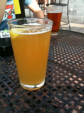 Sampling a Boulevard Wheat (Pale Ale in the back)