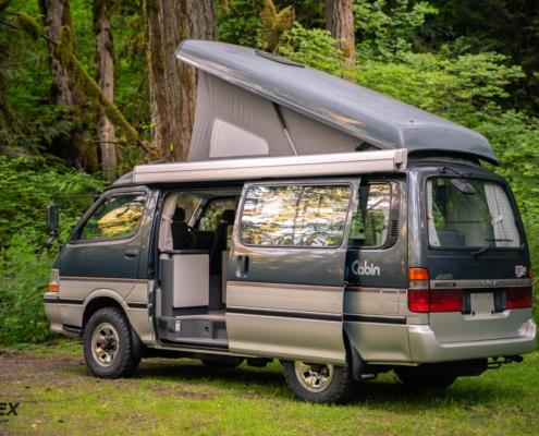 A 1993 Toyota Cruising Cabin Pop Top Van