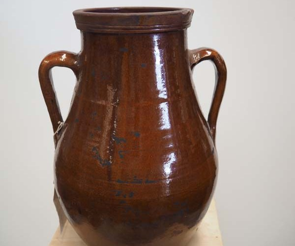 Ottoman Period Glazed Terracotta Pot, 19th century Syrian ( Drilled)