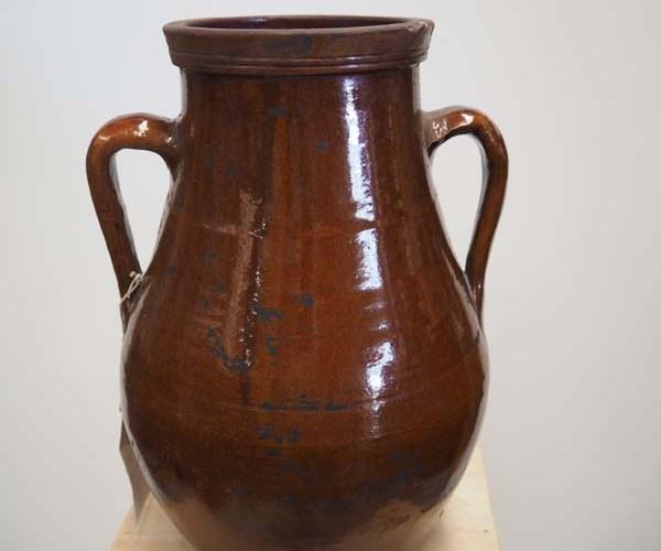 Ottoman Period Glazed Terracotta Pot, 19th century Syrian ( Drilled)