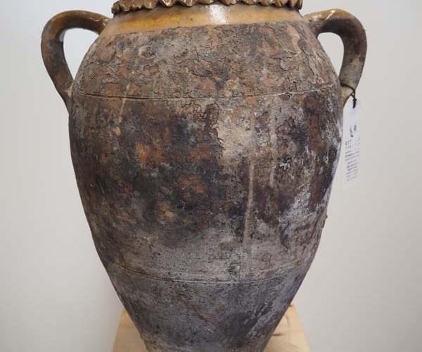 Unusual 19th Century Brown glazed pot