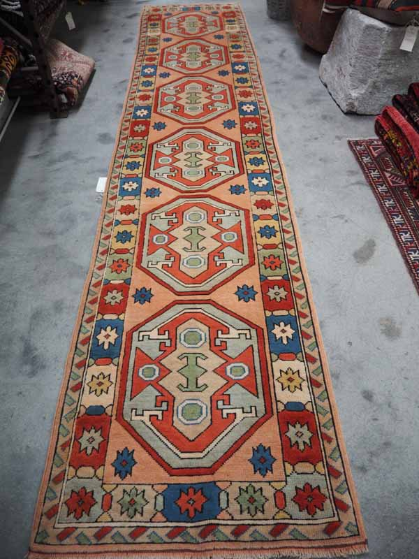 Double knotted Turkish wool runner from Ayvacik. Approximately 30 - 40 years old. Ayvacik is on the Agaan coast of Turkey