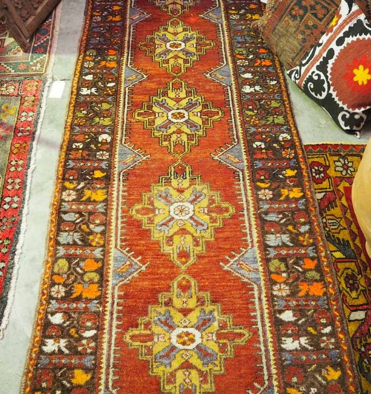 Double knotted Turkish wool runer from Kirsehir using vegetable dyes. Approximately 80 years old