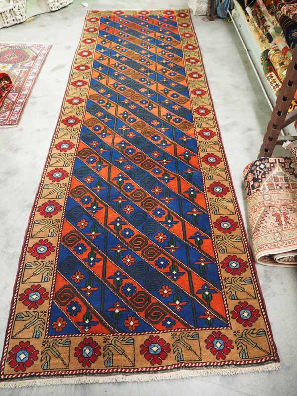 Very Finely woven, Rare Double knotted Turkish wool runner, A Kurdosh Avshar. Approximately 20 years old. Avshar is betweem Sivas & Malatyer