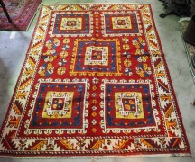 wool on wool hand knotted Caucasian Carpet from Kazakstan. Approximat;ey 120 years old