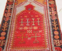 Finely knotted Turkish wool on wool double Niche Prayer rug: Malatyer Cihanbeyli. Approximatley 120 years old