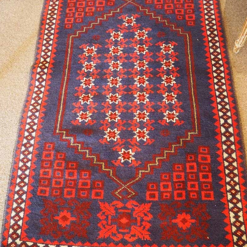 Finely knotted wool on wool carpet from Bergama. Approximately 30 years old