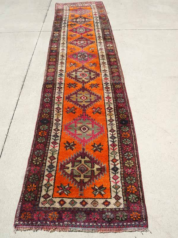 Wool on wool hand knotted Iraqi kurdish Herki Runner. Approximately 60 years old