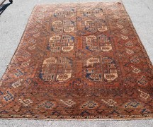 Hand knotted wool on wool Turkoman Main carpet approximately 120 years old