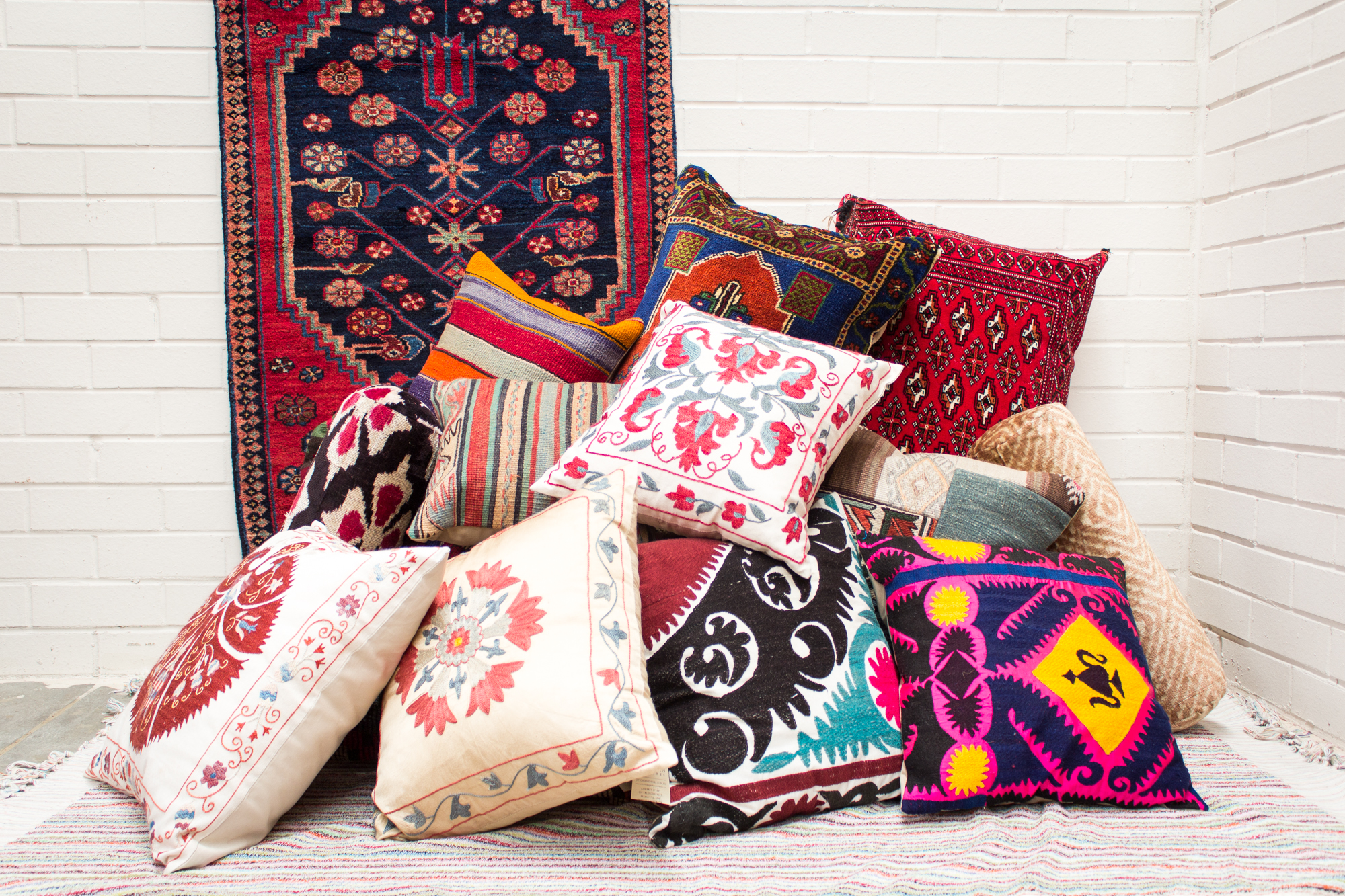 Turkish and Ottoman empire Cushions, rug fragments, kilims and suzani