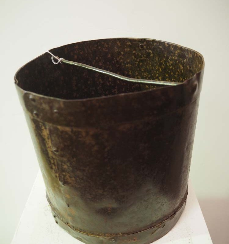 Antique Vintage metal homewares grain bucket
