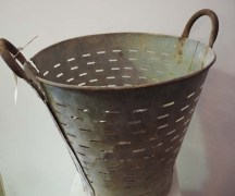 Vintage Turkish Galvanized olive/grape washing basket