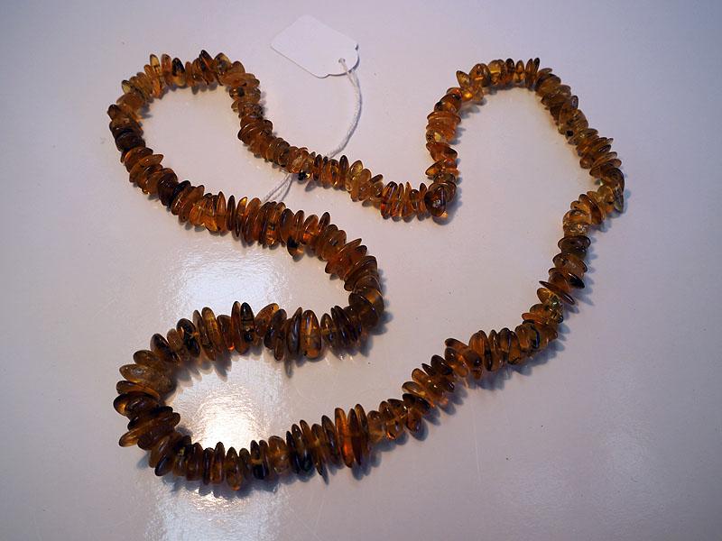Tumbled Burmese amber beaded necklace