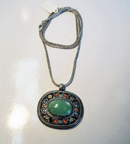 Silver & Jadetite Necklace