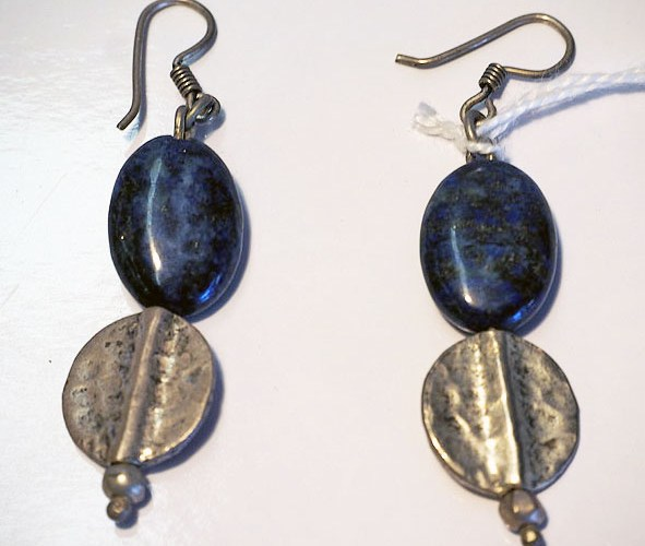 Hand made Syrian silver & Lapis Lazuli Earrings